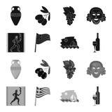 Grécia, corredor, vinho, bandeira Ícones ajustados da coleção de Grécia na Web preta, monocromática da ilustração do estoque do s Foto de Stock