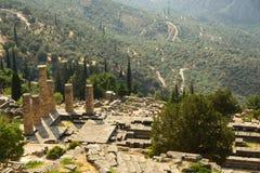 Grécia. Delphi. Templo de Apollo Fotografia de Stock