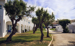 Grécia, ilha da Creta, bungalows brancos, hotel fotos de stock