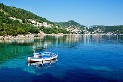 Grécia, a ilha de Ithaki - vista do Kioni Imagem de Stock Royalty Free