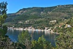 Grécia, a ilha de Ithaki - vista do Vathi Foto de Stock Royalty Free