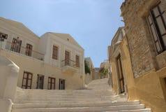 Grécia a ilha de Symi Staircase/ foto de stock