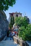 Grécia, meteoros, a escalada no monastério fêmea de St Barbar Imagens de Stock