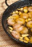 Grésillement des crevettes roses Images stock
