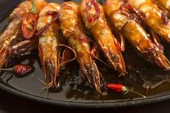 Grésillement des crevettes roses asiatiques Photo libre de droits