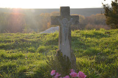 Grób, nagrobek W/cmentarzu, cmentarzu/ Wszystkie świętego dzień, Wszystko/Święcimy/1st Listopad Obraz Stock