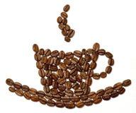 Grões de Coffe projetadas como o copo Imagens de Stock Royalty Free