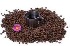 Grões do café preto, xícara de café interna Imagens de Stock