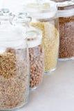 Grões e cereais no frasco Fotografia de Stock Royalty Free