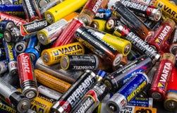 Größe der Batterien AA Stockfoto