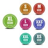 Größenkleidungsaufkleber lizenzfreie abbildung