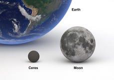 Größenvergleich zwischen Ceres und Mond mit Erde Stockbilder
