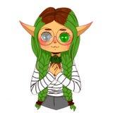 Grönögd älva med grönt hår stock illustrationer