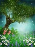 grön äng för tusenskönor Arkivbild