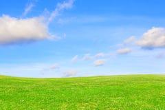 Grön äng under klar himmel jorda en kontakt green arkivfoto