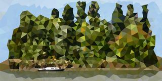 Grön ö med ett ensamt fartyg stock illustrationer