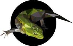 Grön ödla i en polygonstil Arkivfoton