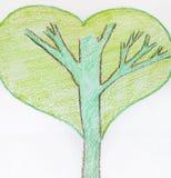 Grön abstrakt hjärtaträdillustration Royaltyfri Fotografi