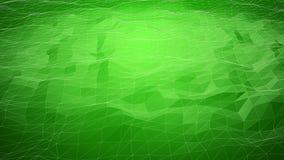 Grön abstrakt polygonal bakgrund med wireframelinjer Royaltyfria Bilder
