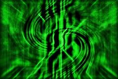 Grön abstrakt teknologibakgrund med kurvlinjer, med matr stock illustrationer