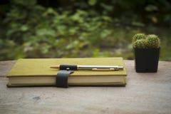 Grön anteckningsbok-, penn- och kaktuskruka på träskrivbordet - tappningstil Royaltyfri Foto
