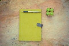 Grön anteckningsbok-, penn- och kaktuskruka på träskrivbordet - tappningstil Arkivfoto