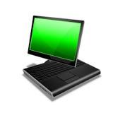 grön anteckningsbokPCtablet Royaltyfria Bilder