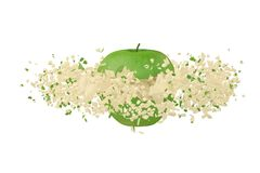 Grön Apple explosion illustration 3d Royaltyfri Illustrationer