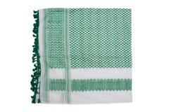 Grön arabisk halsduk som isoleras på vit bakgrund Arkivfoton