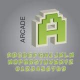 Grön Arcade Alphabet och nummervektor Arkivbild