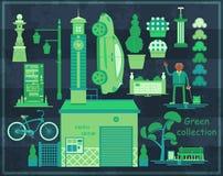 Grön asiatisk gatauppsättning Arkivfoton