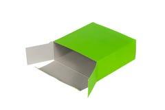 Grön ask med locket ask för öppen eller dokument med olika förslagpacke som isoleras på W Arkivfoton