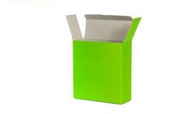 Grön ask med locket ask för öppen eller dokument med olika förslagpacke som isoleras på W Arkivbild