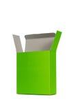 Grön ask med locket ask för öppen eller dokument med olika förslagpacke som isoleras på W Royaltyfri Foto