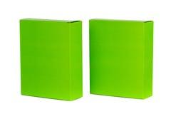 Grön ask två med locket isolerad ask för öppen eller dokument med olika förslagpacke Arkivbild