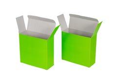 Grön ask två med locket isolerad ask för öppen eller dokument med olika förslagpacke Royaltyfri Fotografi