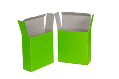 Grön ask två med locket isolerad ask för öppen eller dokument med olika förslagpacke Royaltyfria Foton