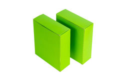 Grön ask två med locket isolerad ask för öppen eller dokument med olika förslagpacke Royaltyfria Bilder