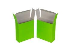 Grön ask två med locket isolerad ask för öppen eller dokument med olika förslagpacke Arkivfoton