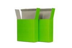 Grön ask två med locket isolerad ask för öppen eller dokument med olika förslagpacke Royaltyfri Bild