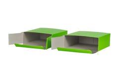 Grön ask två med locket isolerad ask för öppen eller dokument med olika förslagpacke Fotografering för Bildbyråer