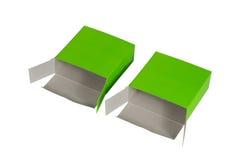 Grön ask två med locket isolerad ask för öppen eller dokument med olika förslagpacke Arkivbilder