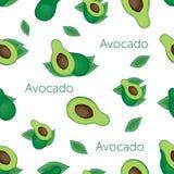 grön avokado och avokado med benet och bladet på beige bakgrund med ord stock illustrationer