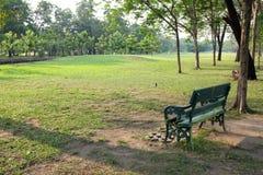 Grön bänk i trädgården Fotografering för Bildbyråer