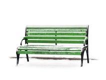 Grön bänk med show på vit bakgrund Arkivfoton