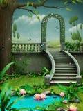 Grön båge med trappa Arkivbild