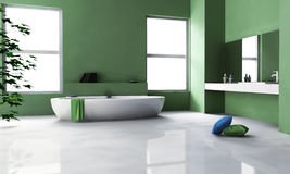 Grön badruminredesign Arkivbilder