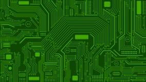 Grön bakgrund för strömkretsbräde, datorer, teknologi royaltyfri illustrationer