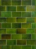 Grön bakgrund för tegelstentegelplattavägg abstrakt vektorillustration Royaltyfri Fotografi