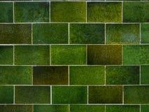 Grön bakgrund för tegelstentegelplattavägg abstrakt vektorillustration Arkivfoto